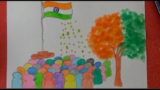 Republic Day Poster, Indian National Flag, Republic Day Greeting drawing step by step for kids