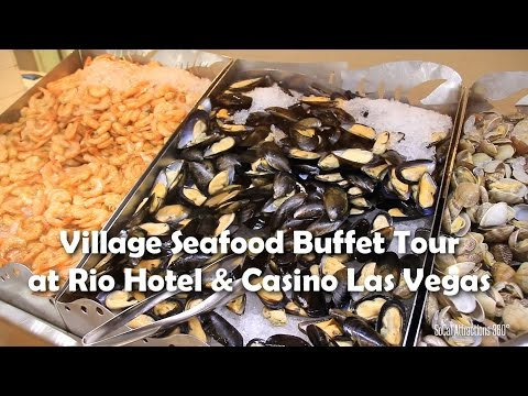 [HD] Tour of The Village Seafood Buffet at Rio Hotel & Casino - Las Vegas Buffet Tour