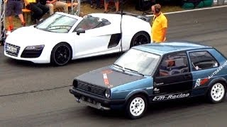 Audi R8 V10 SPYDER Vs VW GOLF 2 R32 Turbo 1/4 Mile Drag