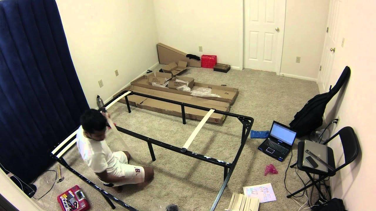 Assembling The Wood Slat Bed Frame YouTube