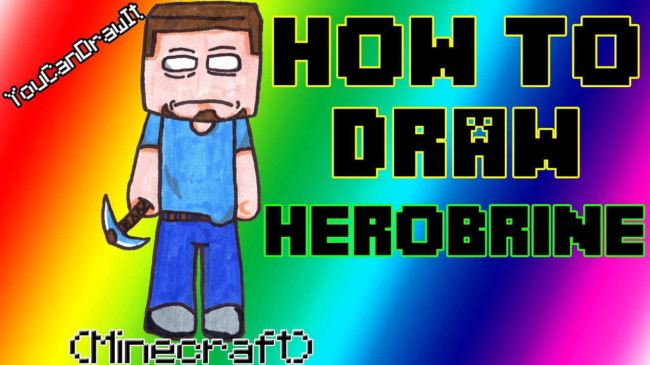 How To Draw Herobrine from Minecraft YouCanDrawIt ツ