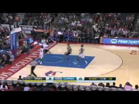 Tony Parker ACROBATIC Layup   Spurs vs Clippers   December 16  2013   NBA 2013 14 Season