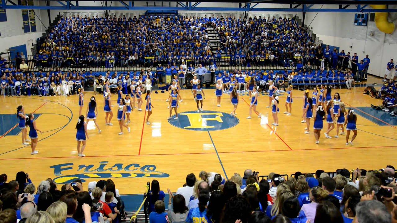 High school cheerleaders pep rally