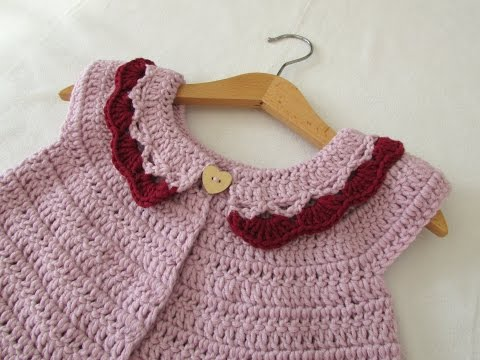 How to crochet a little girl's collar cardigan / sweater