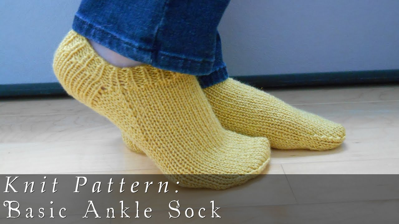 Ankle Sock Knitting Pattern : Basic Ankle Sock Knit Pattern - YouTube