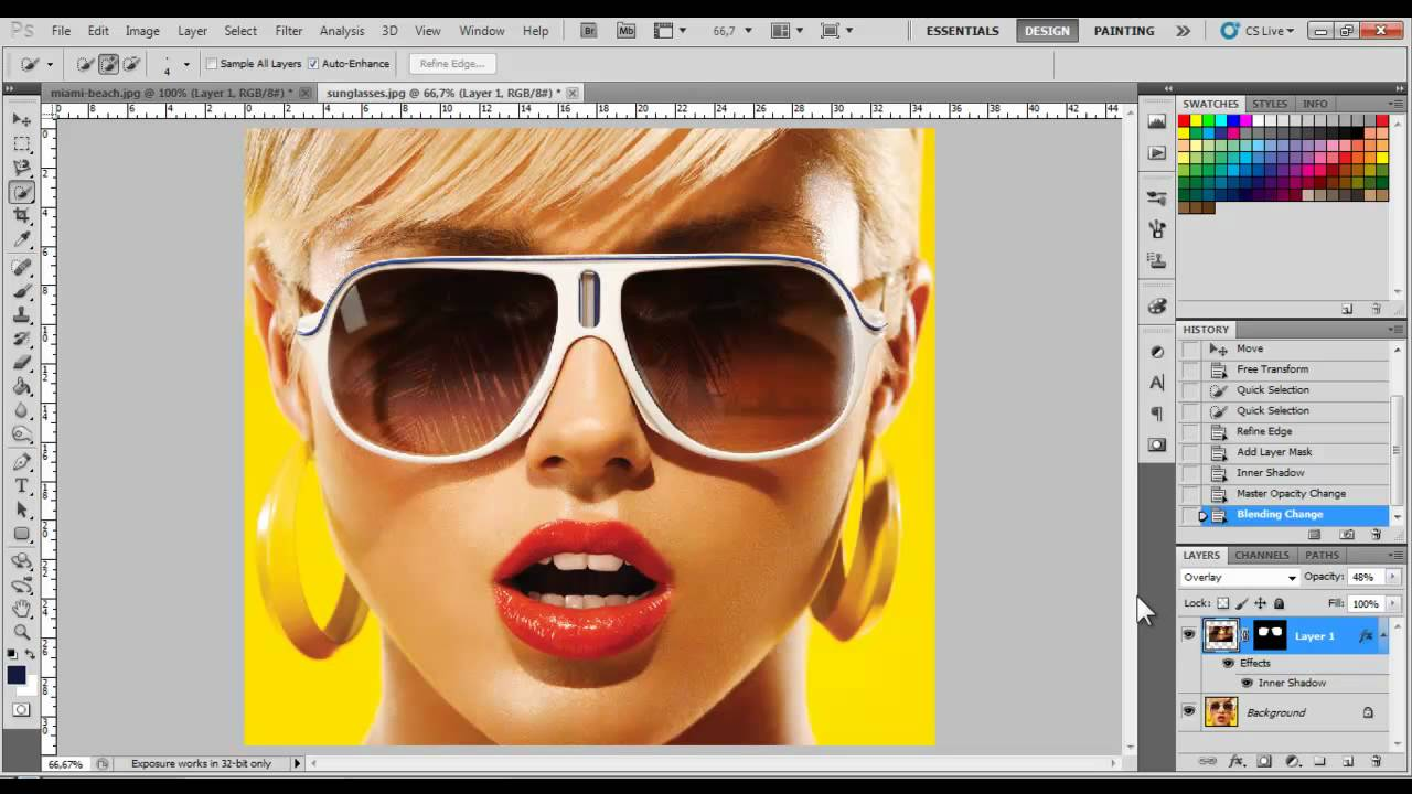 Adding Reflections To Sunglasses - Photoshop Tutorial