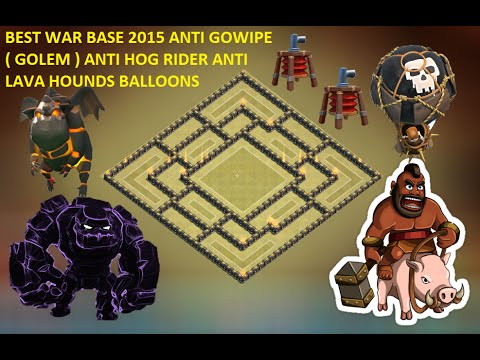 Town hall 9 (th9) Best war base 2015 + defense 2 replay ANTI GoWipe, ANTI Lava hounds& Blloons