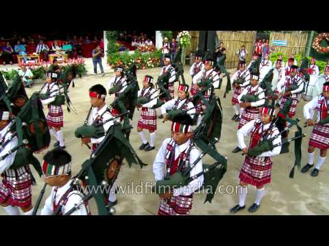 Mizo Pipers in traditional outfits