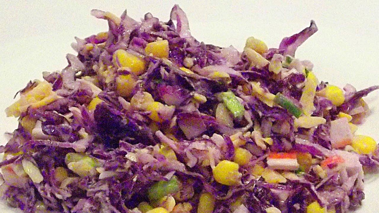 Салат из красной капусты с крабовыми палочками рецепты с фото