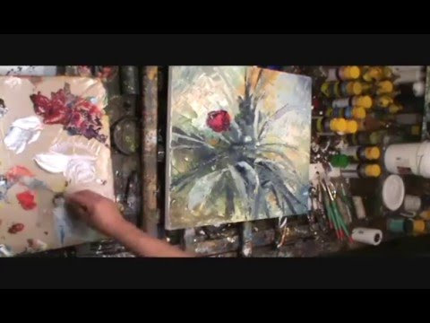 Palette knife painting demo. modern contemporary art, floral,flowers,How to...technique