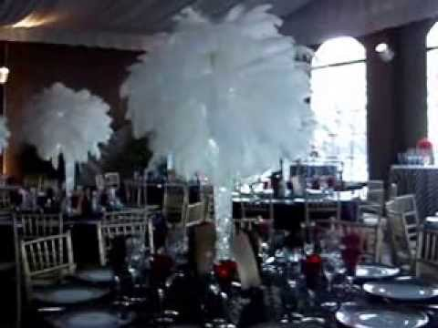 Great gatsby themed centerpiece rentals by sweet 16 candelabras