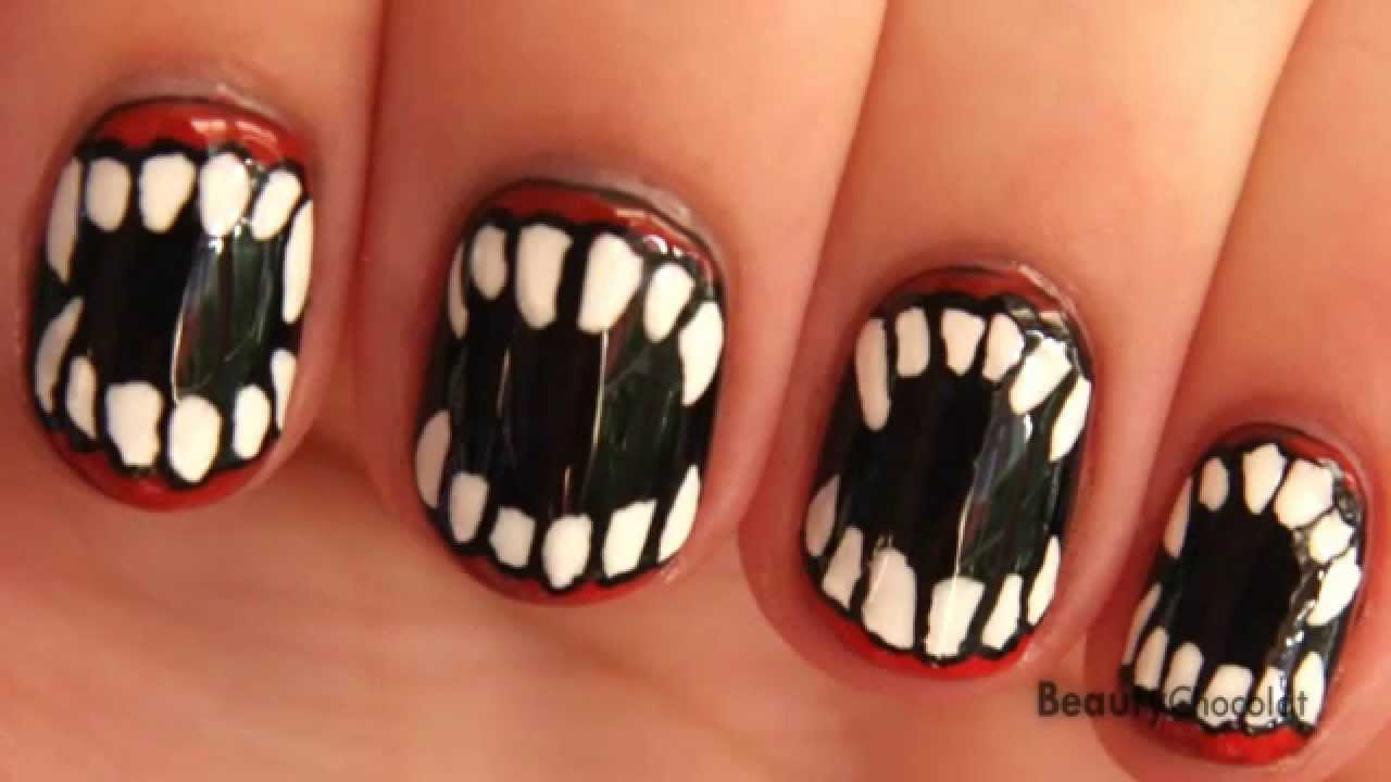 Nail Art for Short Nails -- Vampire/Werewolf Halloween Nails - YouTube