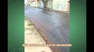 Telespectadora denuncia aguaceiro que escorre por rua do Bairro Milion�rios, em BH