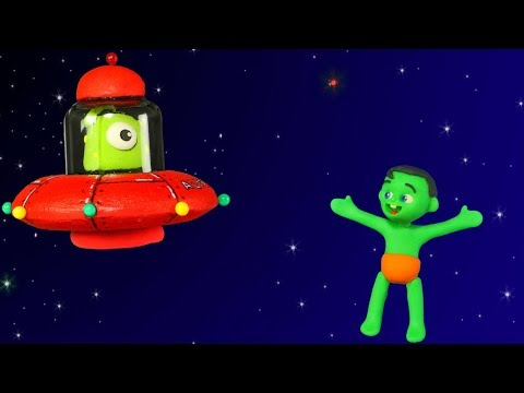 FUNNY KIDS & THE GIFT FROM SPACE ❤  Play Doh Cartoons For Kids
