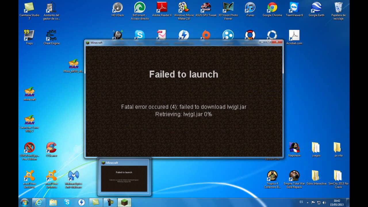 Minecraft error failed to download lwjgl.jar