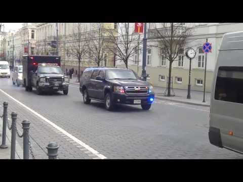 Joe Biden's Vice President of USA motorcade escort | Vilnius Lithuania 19th March 2014
