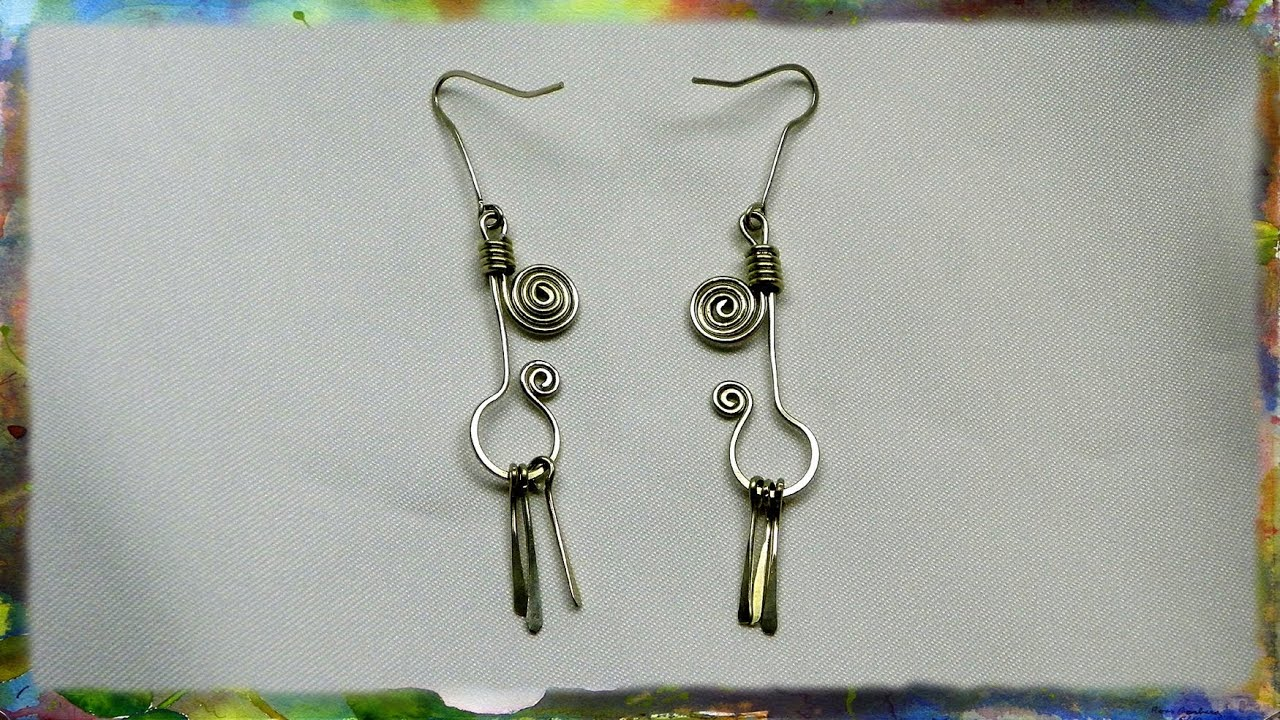 How to create wire earrings with dangling flairs youtube for Step by step wire jewelry subscription