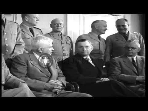 President Eisenhower and defense group pose for a picture in Secretary of Defense...HD Stock Footage