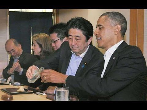 Barack Obama shares sushi with Japan's PM in Tokyo