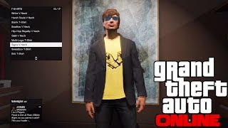 GTA 5 ONLINE: HOW TO GET ANY DESIGN / LOGO ON A BLACK T-SHIRT GLITCH! CLOTHING GLITCH (GLITCHES)