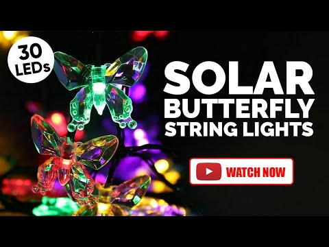 video Hardoll 30 LED 20Ft Butterfly Decorative Solar Lights Amazon Coupon offers