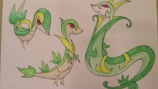 How To Draw Pokemon: No.495 Snivy, No.496 Servine, No.497
