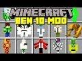 Minecraft BEN 10 ULTIMATE ALIEN MOD TRANSFORM INTO NEW ALIENS MORE Modded Mini Game