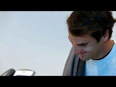 Roger Federer Collects His Accreditation