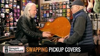 Watch the Trade Secrets Video, Swapping pickup covers on a rare lefty Lucille