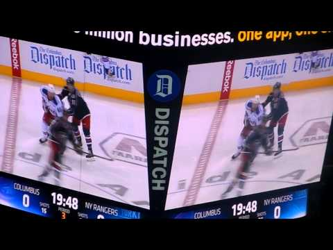 Columbus Blue Jackets Matt Calvert Fights New York Rangers Rick Nash 3/21/2014