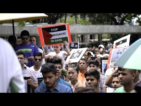 Pro-Palestinian rally in Hong Kong as Gaza death toll climbs