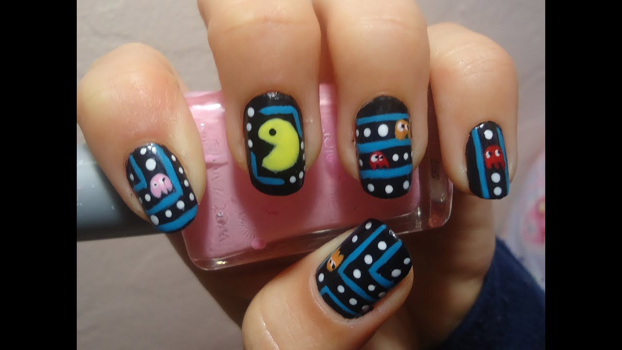 Pacman Nail Art Tutorial - YouTube
