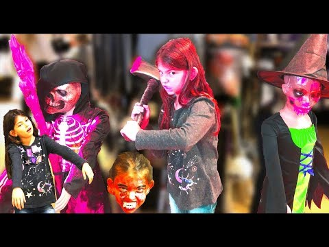 Halloween shopping tour 2019, lots of blood and spooky masks, funny kids video