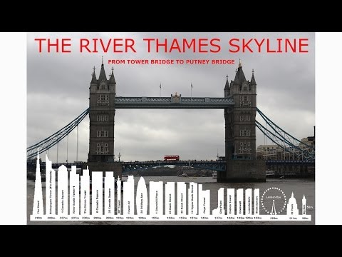 The skyline landscape and architecture of the River Thames in Central London