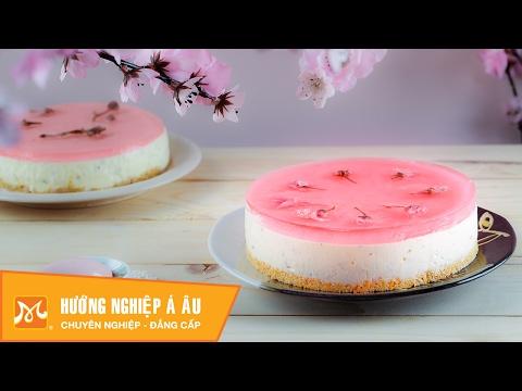 Học làm bánh Nhật - Cách làm bánh Sakura CheeseCake (Bánh phô mai hoa anh đào) đẹp hấp dẫn