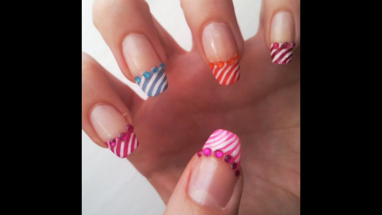 Summer French Manicure Nail Art Design Tutorial - YouTube