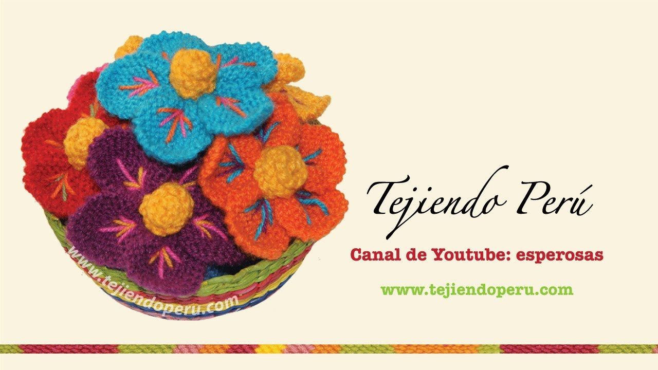 Dos Agujas Knitted Peruvian Flower English Subtitles Youtube
