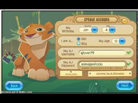 username and password for an animal jam account