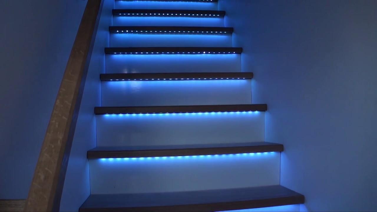 Escalier bandeaux de led rgb youtube - Led pour escalier ...