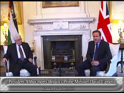 President Abbas meets Britain's Prime Minister David Cameron
