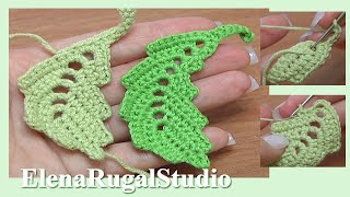 How To Crochet Curved Two-Side Leaf Chain Spaces Inside