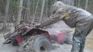 2 Honda Fourtrax In Deep Mud