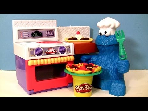 PLAY-DOH Chef Cookie Monster Eats Pizza Meal Making Kitchen Cookie Monster's Letter Lunch PlayDoh