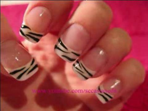 Zebra Print French Tip Nails Tutorial