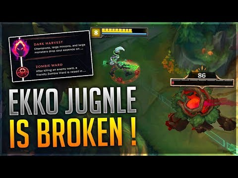 SEASON 8 EKKO JUNGLE ONE-SHOTS WITH DARK HARVEST BUILD/GUIDE | LEAGUE OF LEGENDS GAMEPLAY