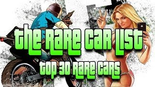 "GTA 5 Online Rare Cars List Top 30 ""Rare Cars In GTA 5"