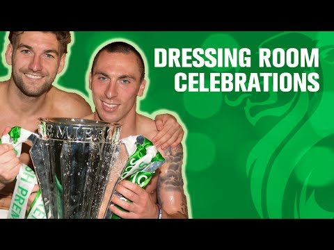 Celtic dressing room celebrations after trophy award!