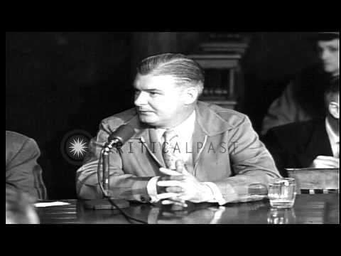Allegations against gangster Frank Costello and arguments in front of the Kefauve...HD Stock Footage
