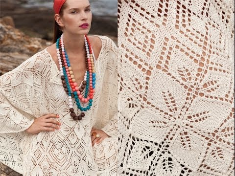 #9 Lace Poncho, Vogue Knitting Spring/Summer 2011, Intricate and inventive, Shiri Mor's gorgeous poncho-style piece consist of lace medallions that are knitted separately and assembled in finishing. Partial a...