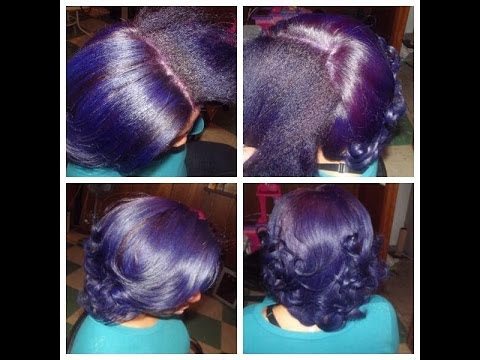 Coloring Natural Hair Purple Double Process Youtube
